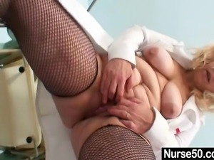 Chubby aged milf nurse getting naughty at gyno clinic. Spreading pussy,...