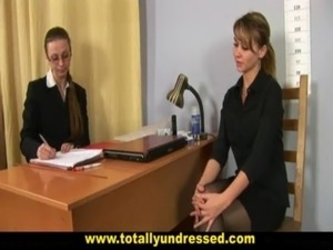 Humiliating, totally nude job interview for young lady free